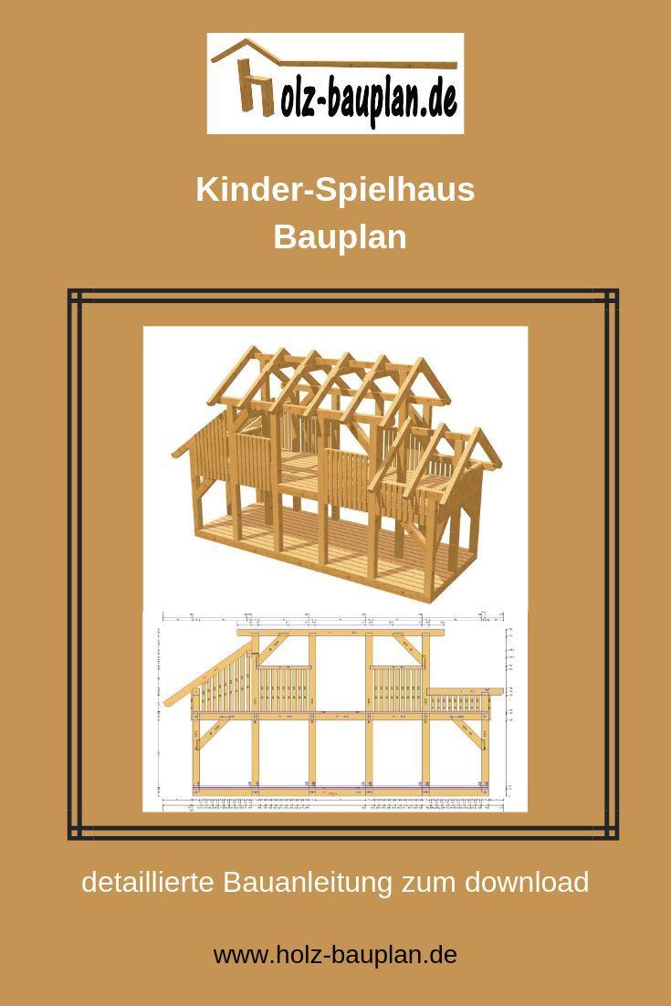 Top Kinderspielhaus selber bauen, Spielhaus Bauplan, Holz TE54