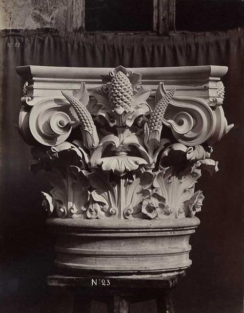 Louis-Emile Durandelle (1839 -1917)   Le Nouvel Opera de Paris, Sculpture Ornementale  circa 1866    Albumen print from wet plate negative