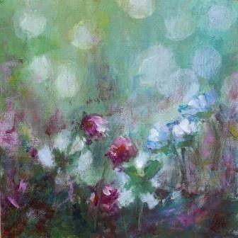Bloemen op paneel, acryl, 16 x 16 cm