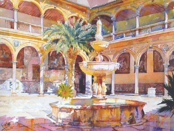 Geoffrey Wynne Acuarelas - Watercolours: HOSPITAL DE SAN JUAN DE DIOS, GRANADA - ST. JUAN DE DIOS HOSPITAL, GRENADE
