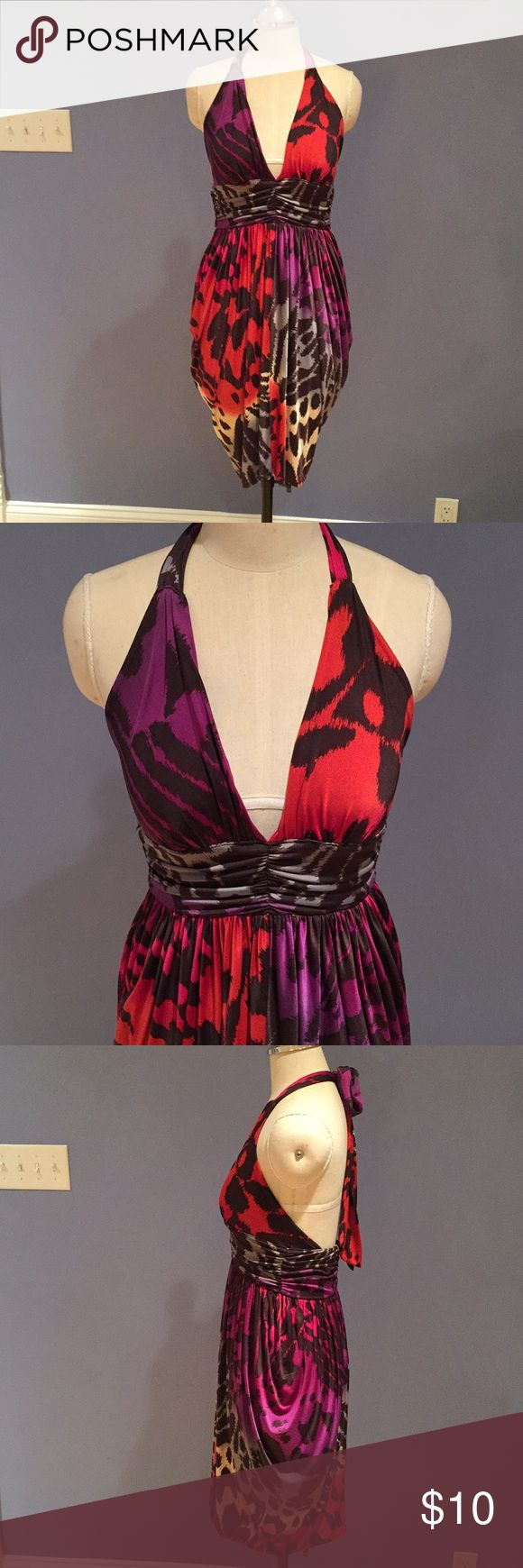 Party Dress Halter Backless Red Purple Black Sexy Sexy party dress, halter, backless, bold multi-color print, slinky material. Brand is Forever 21. Size M. Forever 21 Dresses Backless
