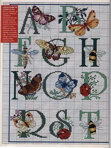 Punto de Cruz GRATIS: Abecedario con mariposas y libélulas