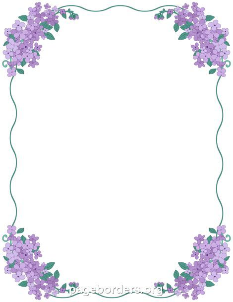 Printable lilac border. Use the border in Microsoft Word or other programs for creating flyers, invitations, and other printables. Free GIF, JPG, PDF, and PNG downloads at http://pageborders.org/download/lilac-border/