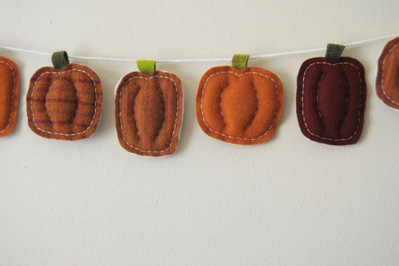 Cozy Wool Pumpkin Garland Handmade Autumn Decor by whatnomints