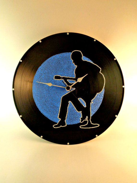 Guitarist Vinyl Clock Hand Painted Blue Silver by InsaneDotting