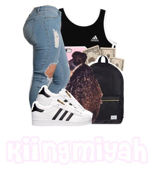 """""""Cake is a triple decker"""" by kiingmiyah ❤ liked on Polyvore featuring adidas and Herschel Supply Co."""