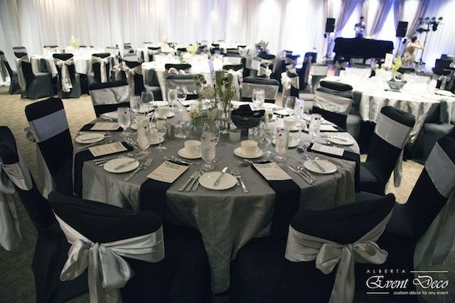 Black Chair Covers with Silver Sashes - Wedding Reception @ Hotel Arts, Calgary, AB