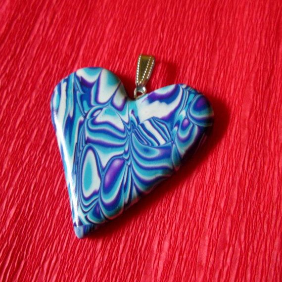 turquoise polymer clay heart jewelry gift for her valentineday  by FloralFantasyDreams on Etsy