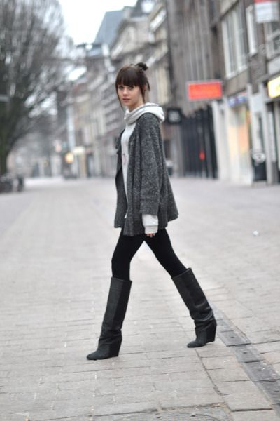 The only tall boot I have ever liked: Isabel Marant boots - H&M leggings - IRO cardigan - H&M Mens hoodie
