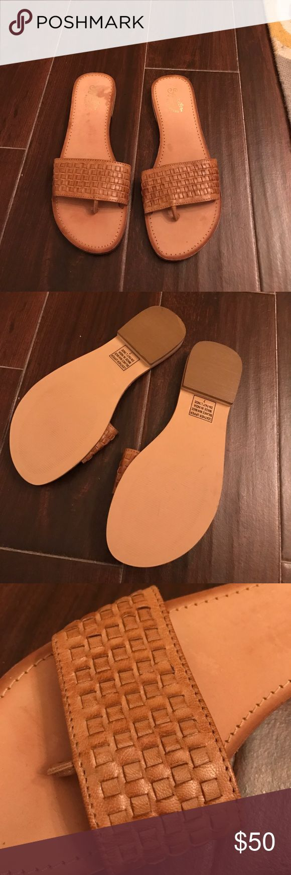 "Seychelles ""Wanders"" Flip Flops Bought from Neiman Marcus Online, and were too tight. Size 7, but a bit narrow (although not considered narrow). Never worn. Braiding detail across the top. Light tan in color. Great casual summer staple! Seychelles Shoes Sandals"