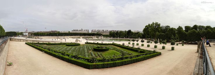 Looking out from a terrace over the Roseraie to the Basin Octagonal of the Tuileries Gardens.  More photos to be seen at www.eutouring.com/images_tuileries_garden.html