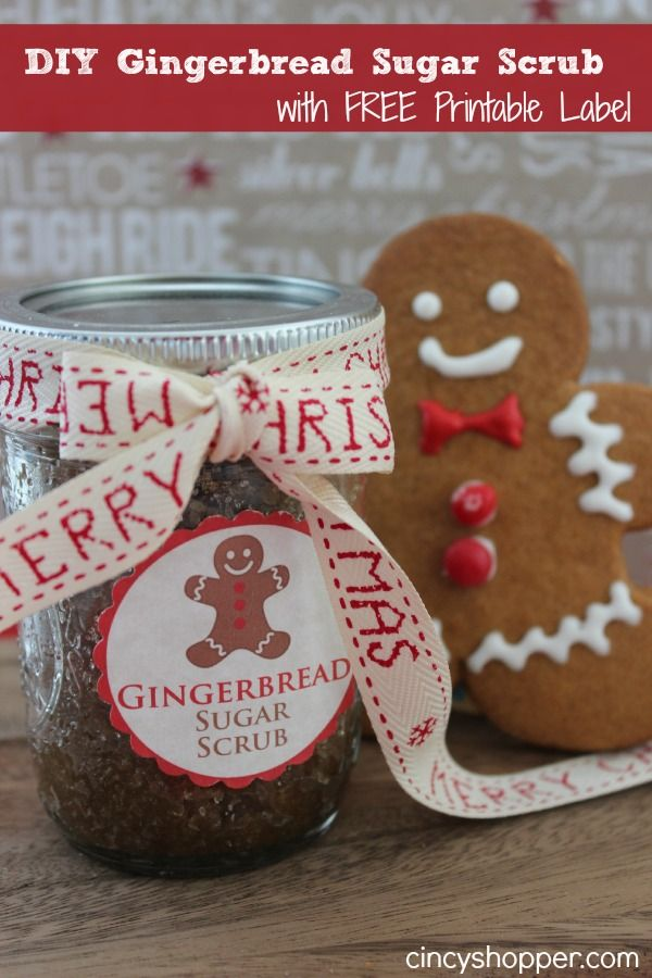 DIY Gingerbread Scrub In A Jar Gift FREE Printable Label