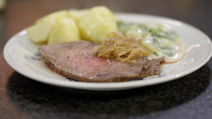 Rosbief met andijvie in witte saus en gekookte aardappelen | Dagelijkse kost