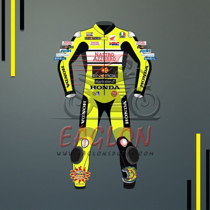Description Valentino Rossi Honda Nastro Azzurro Motogp 2000 Leather Suit is designed for professional bikers to show their love toward him and HondaBike on the track. This suit is made of Cowhide leather with thickness of 1.2-1.3 mm and Schoeller Kevlar Fabric for complete safety and comfort of rider. There is certified carbon inserted external …