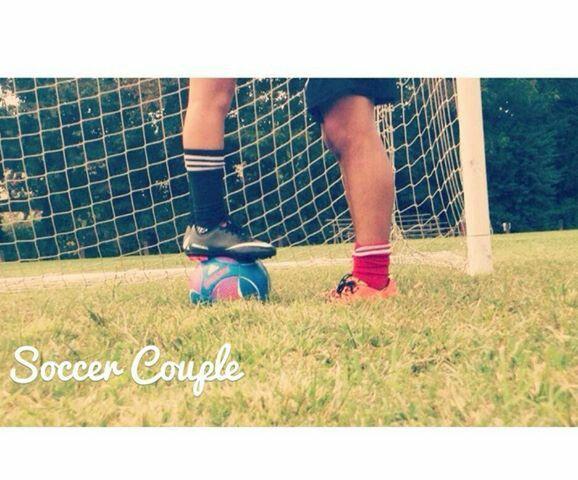 Cute soccer couple
