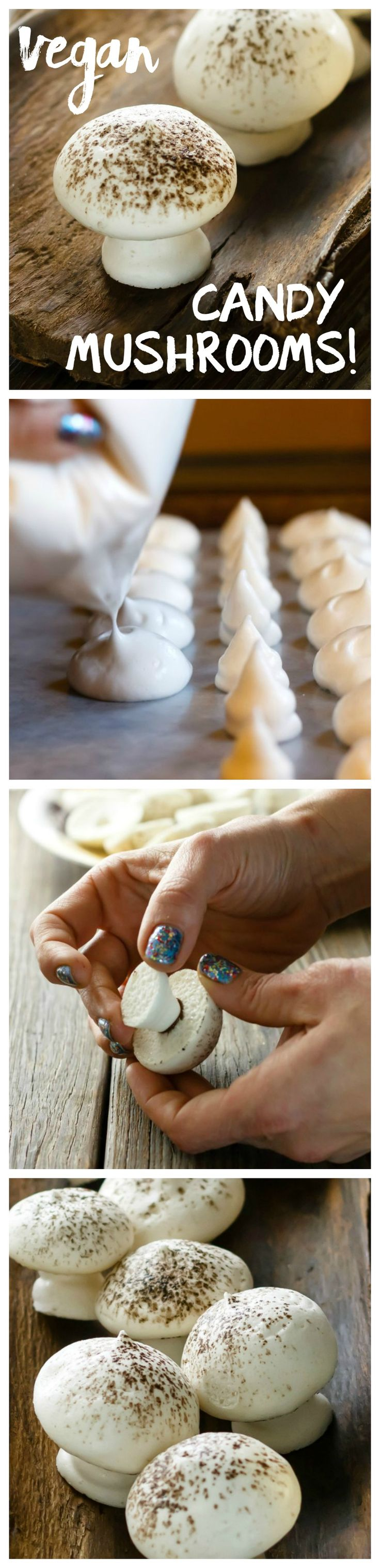 Aquafaba Meringue Mushrooms are cute, delicious candies! Vegan and gluten free. Step-by-step instructions plus tips to help you make perfect Aquafaba creations!