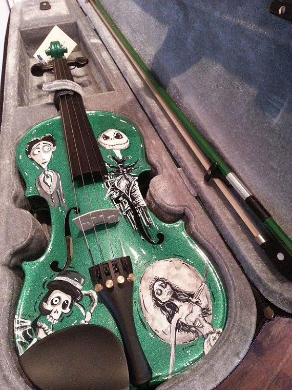 Hand Painted Tim Burton Inspired Corpse Bride Nightmare Before Christmas Violin