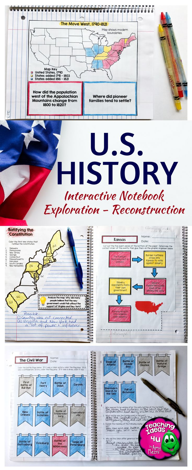 American History Interactive Notebook - Exploration through Reconstruction Bundle - Use this 300+ page resource with your 6th, 7th, 8th, or 9th grade classroom or home school students. Graphic organizers, interactive notebook materials, quizzes, and more are included. These work great as scaffolded notes too! Topics include European explorers, the Reformation, Patrick Henry, Thomas Paine, Federalism, and much more! {middle schoolers, sixth, seventh, eighth, ninth graders, U.S. History, US Histor