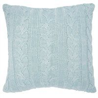 """Braided Cable Knit Pillow Cover – Blue Marl, 24"""" x 24"""""""