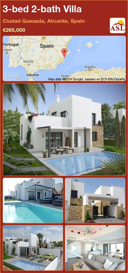 3-bed 2-bath Villa in Ciudad Quesada, Alicante, Spain ►€265,000 #PropertyForSaleInSpain