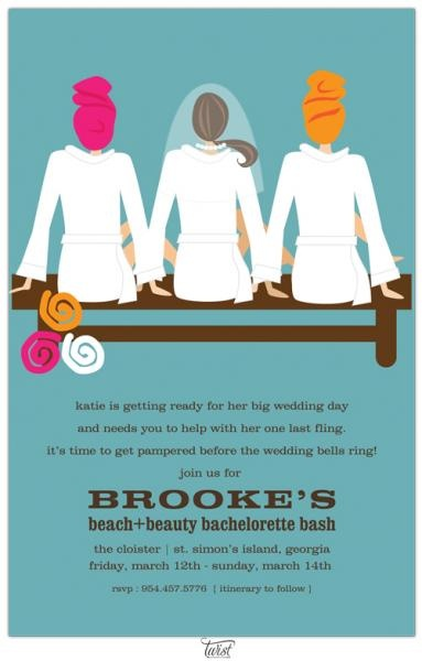 Perfect for my spa day for my bachelorette party!...Spa Bridal Shower Invites