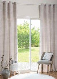 Ösenvorhang aus Baumwolle und Leinen, beige mit Pailletten 140 x 250 | Maisons du Monde