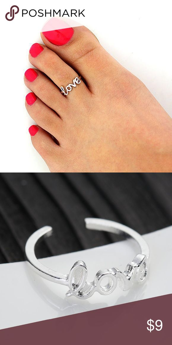 """New Toe ring """"LOVE"""" silver plated open adjustable New without tag Open adjustable toe ring. Silver plated unbrand Jewelry Rings"""