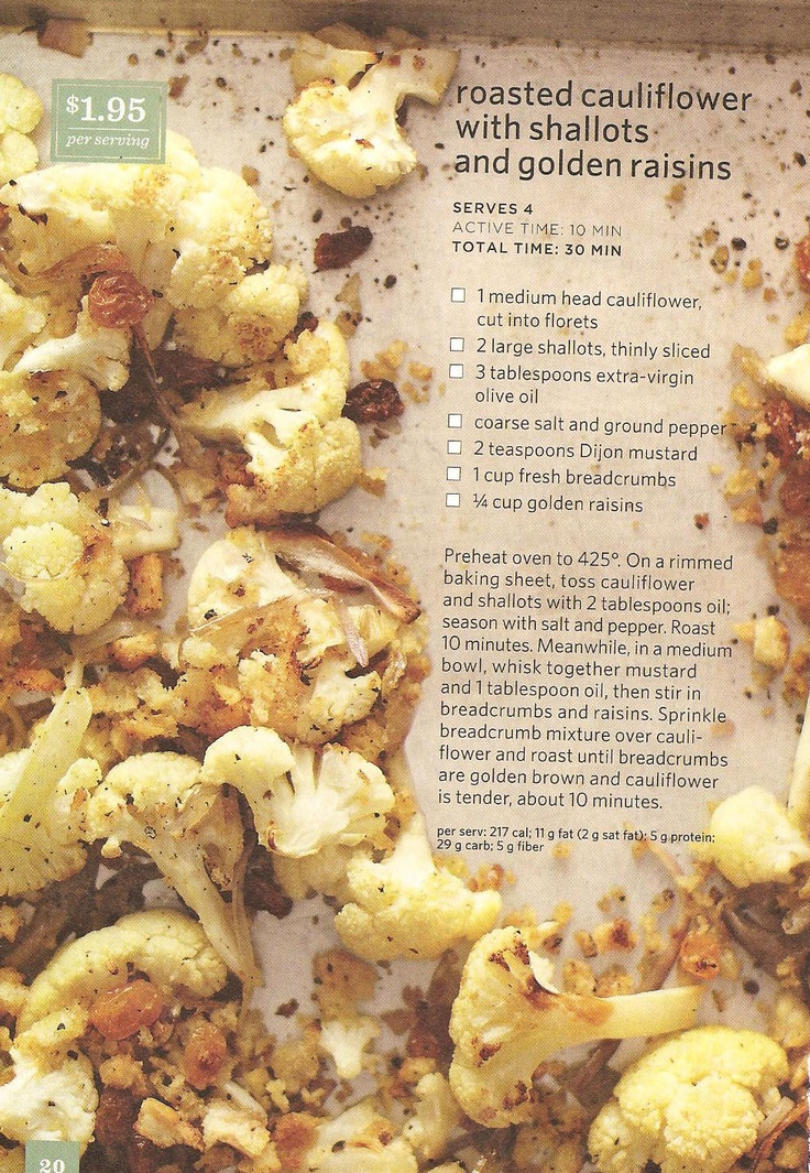 Roasted cauliflower with shallots and golden raisins