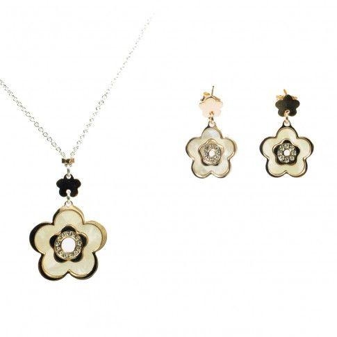 Perłowy Kwiat - srebrny komplet