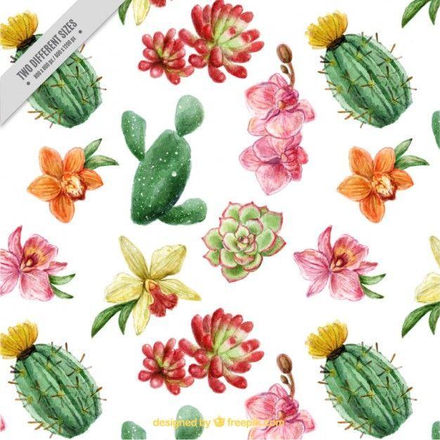 Schöne Kakteen und Blumen Hintergrund mit Aquarell-Effekt Kostenlose Vektoren