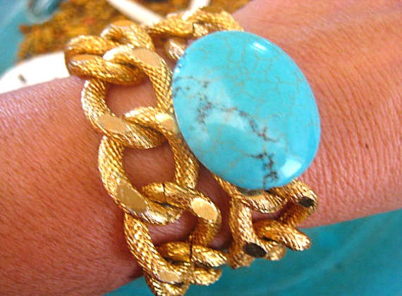 "Boho Chic Double Wrap Gold Chunky Knurled Textured Chain Stacking Bracelet with Turquoise...""FREE SHIPPING""   by LeatherDiva, $23.00"