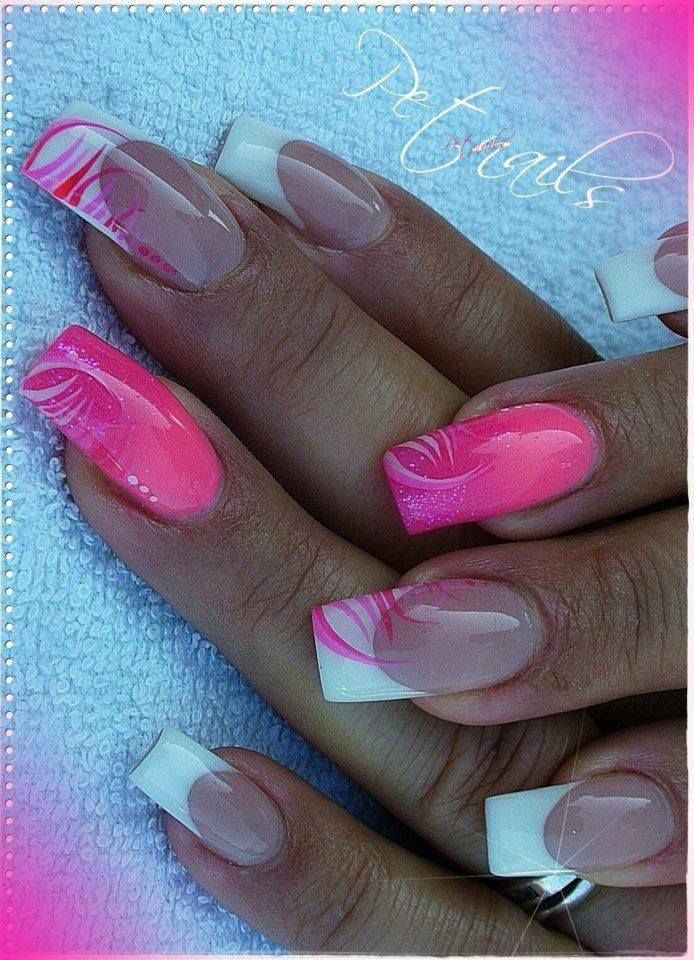 pink , white , french, nail art