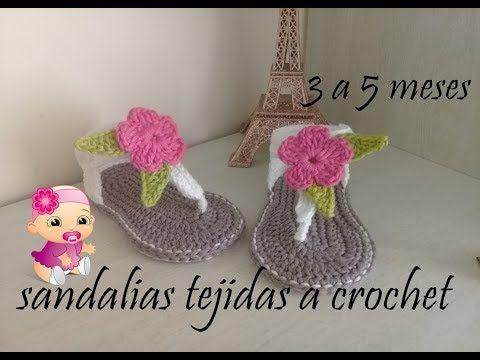 sandalias tejidas a crochet para bebe - YouTube