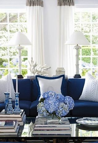 blue and white themed living room, classic interiors