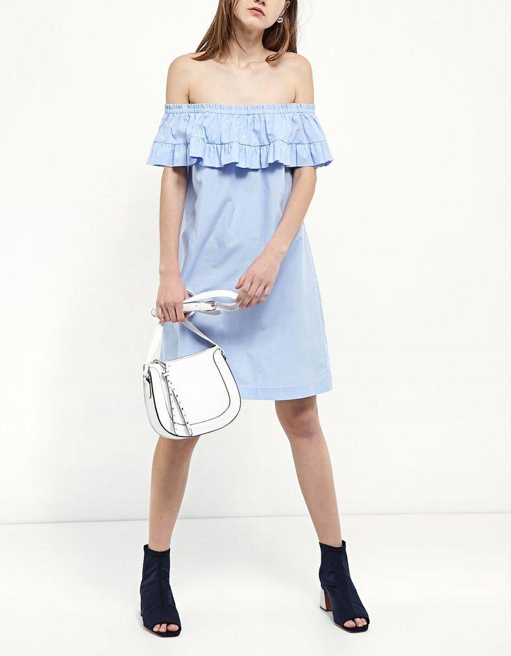 Sukienka z odkrytymi ramionami z popeliny - Ubrania | Stradivarius Polska