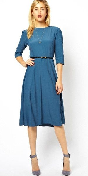 Modest knee length midi dress with 3/4 length sleeves and belt | Mode-sty tznius – Mode-sty