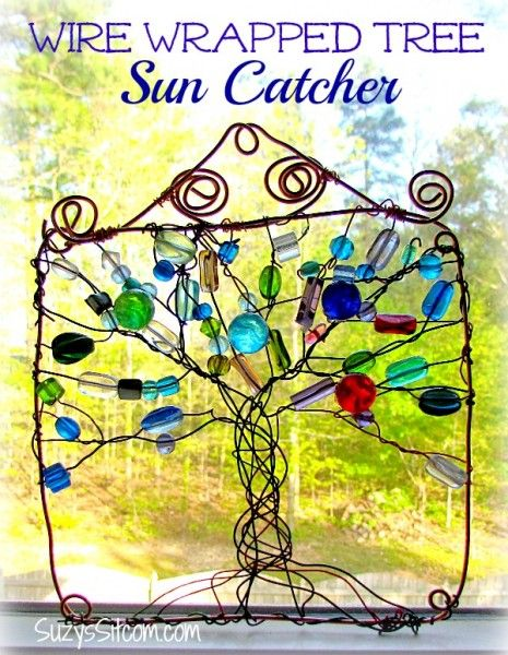 wire wrapped tree sun catcher