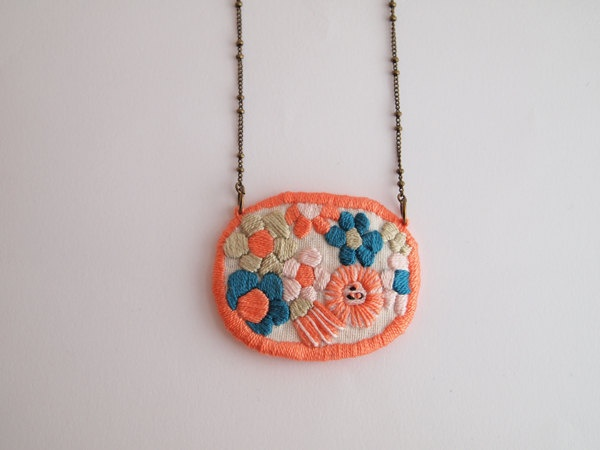 Wildflowers, embroidered necklace, small size