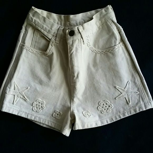 Vtg. Stefano High Waist  Embroidered Shorts Vintage classic high Waisted shorts from Stefano International. Tag Size 4. Smaller. 100% cotton. Measurements are as follows :  11 inches in width on waste 15 1/2 inches in width along hips Inseam is 2 inches. Very short Total length from top to bottom is 12 1/2 inches. No stretch. In excellent condition Vintage Shorts Jean Shorts