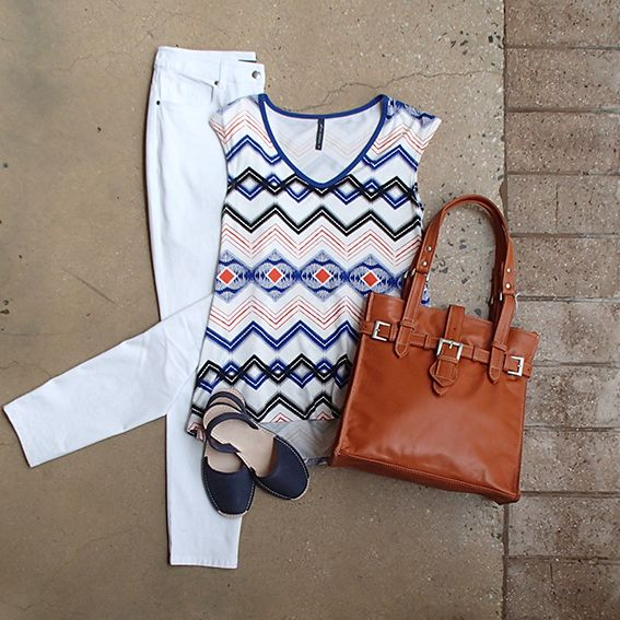 White skinny leg Saints & Lovers jeans are a classic! Add some zest with Wyse tribal print flared tee, Leather Cargo Aura bag & Alohas sandals