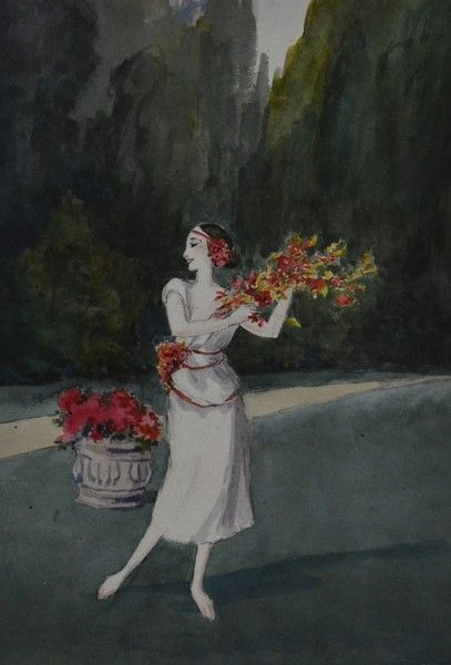 Pavlova by Cecil Beaton, based on a 1914 photograph of the dancer.