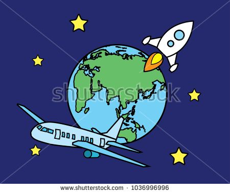 airplane and rocket illustration design.cartoon style design.designed for animation and web