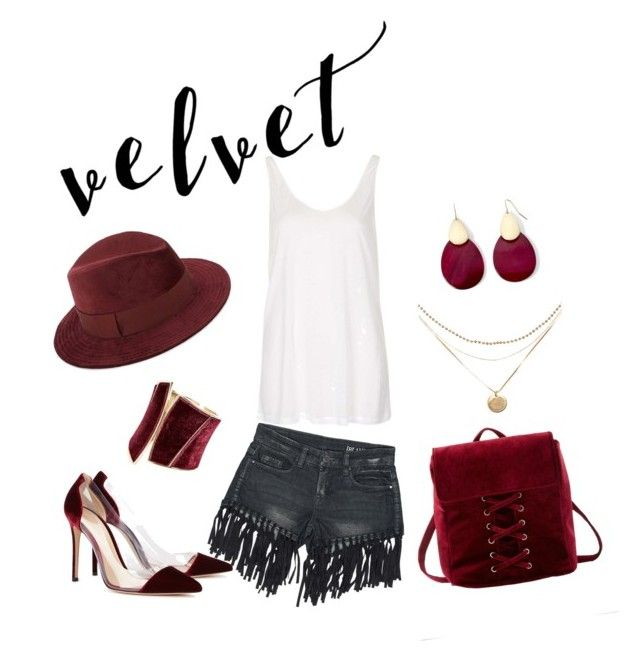 """velvet"" by chxhshe ❤ liked on Polyvore featuring Sans Souci, GUESS by Marciano, Mixit, Charlotte Russe, Saks Fifth Avenue, Topshop and Gianvito Rossi"