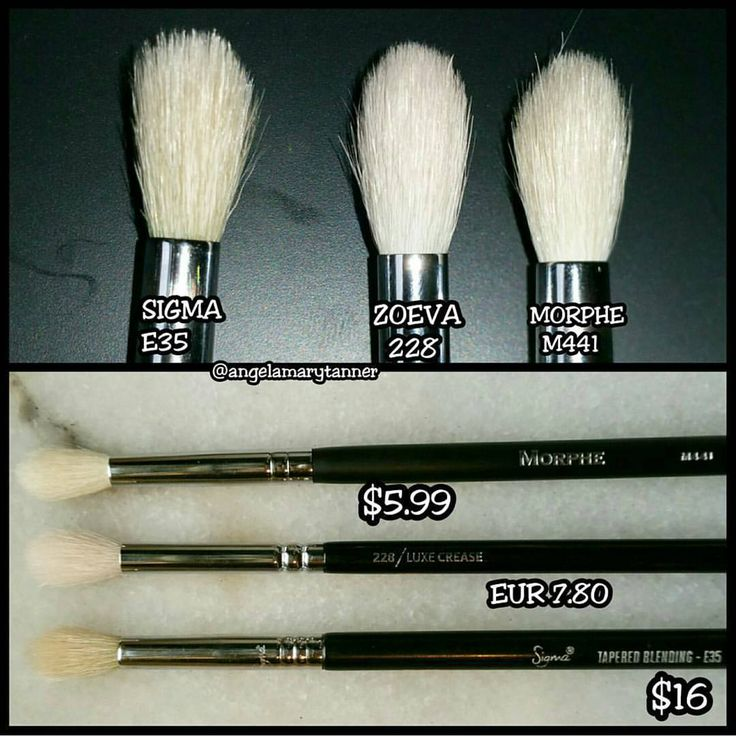 Tapered eyeshadow Brush dupes: Sigma E35 $16 = Zoeva 228 $8.25 = Morphe M441 $6