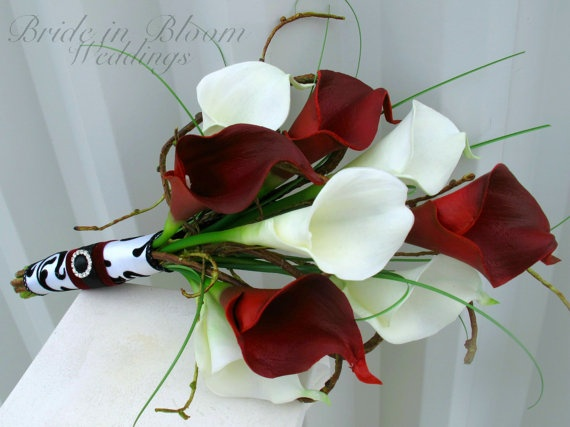 Wedding Bouquet real touch red white calla by BrideinBloomWeddings Different colours but I like the flowers