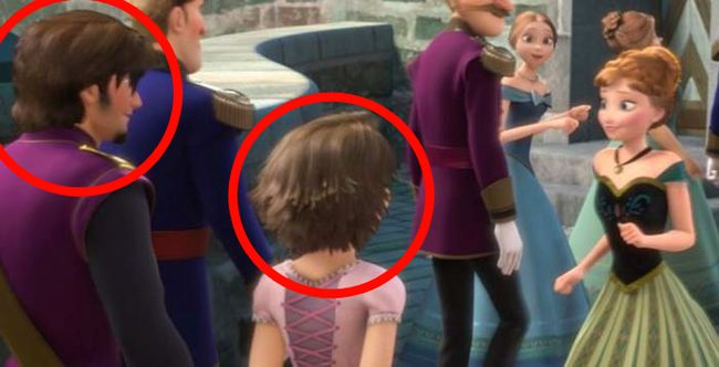 Flynn Rider and Rapunzel make an appearance at Elsa's coronation in Frozen.