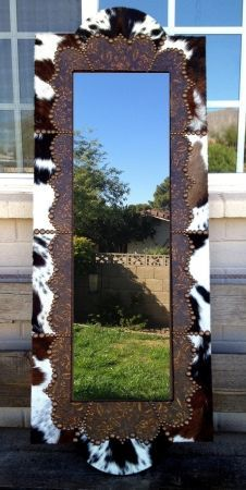 Fancy Full Length Wood, WESTERN Cowhide & Leather Mirror Frame | Western Decor by Signature Cowboy
