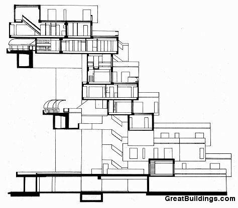 Great Buildings Drawing - Habitat '67 Section Drawing