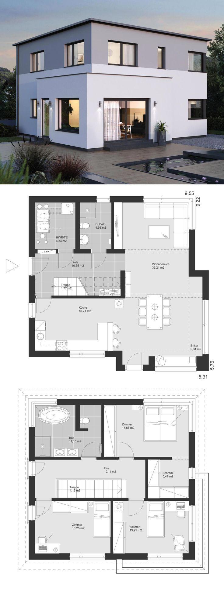 Neubau Stadtvilla modern Grundriss mit Flachdach Architektur, Erker Anbau & Trep…