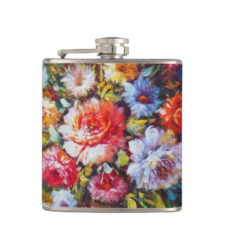 Vintage Floral Bright Country Flowers Painting Hip Flask
